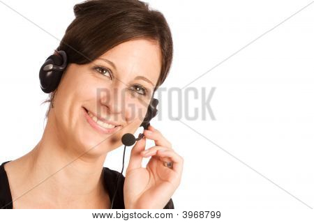 Friendly Caucasian Brunette Female With Headset