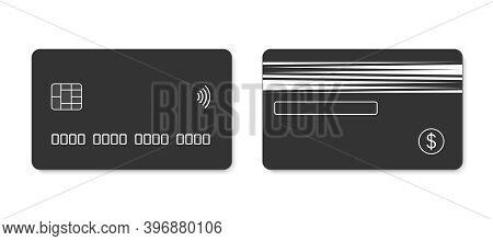 Credit Card. Debit Card. Concept Black Plastic Bank Card Design Template, Isolated Credit Or Debit C