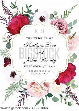 Elegant Wedding Card With Summer Flowers. Burgundy Red Peony, Anemone, Agonis, Dusty Pink Blush Rose