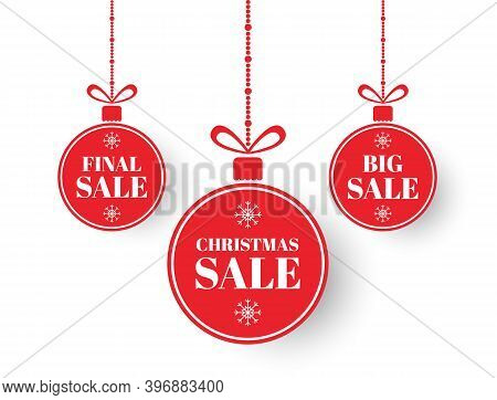 Christmas Labels. Red Xmas Balls With Sign Sale, Special Offer. Merry Christmas And New Year Sale Ba