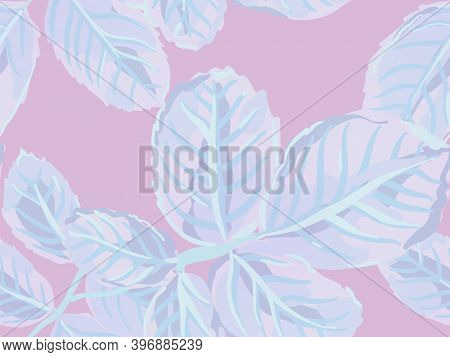 Summer Textile Design. Painted English Rose Leaf Patterns Collection. Proton Purple Repeated Spring