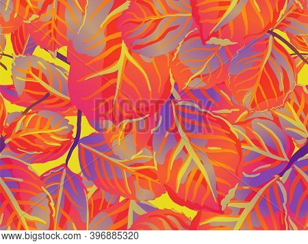 Rose Leaves Seamless Pattern. Painted English Rose Leaf Patterns Collection. Summer Textile Design.