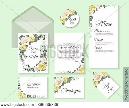 Vector Floral Template For Wedding Invitation. Beige And White Roses, Eucalyptus, Green Plants And L