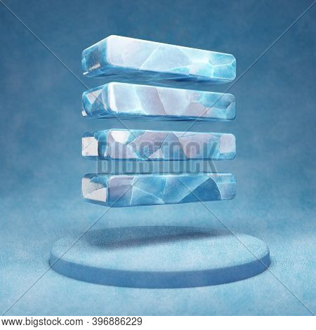 Text Align Justify Icon. Cracked Blue Ice Text Align Justify Symbol On Blue Snow Podium. Social Medi