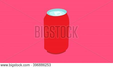 Tin Bottle On A Pink Background, Vector Illustration. Bottle For Drinks And Lemonades. Container For