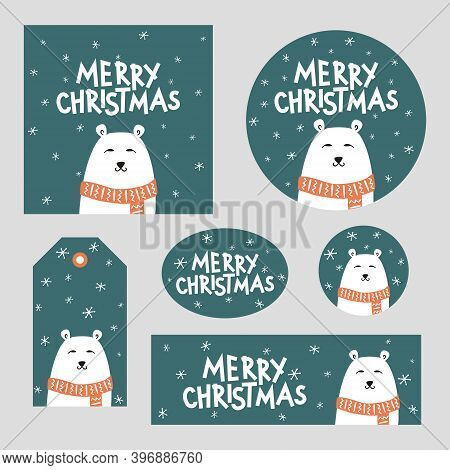 Set Of Christmas Decor With Polar Bear. Merry Christmas Poster, Card, Sticker, Tag. White Polar Bear