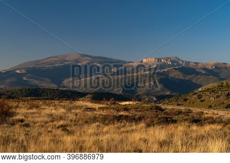 Close-up Of The Moncayo And Surroundings On A Clear Day