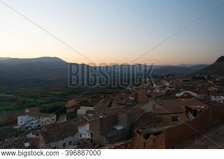 Views Of The Town Of Mesones De Isuela From The Top Of Its Medieval Castle
