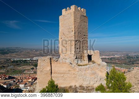 Ruins Of The Arab Castle Of Cadrete  Made Of Mud And Stone Near Zaragoza