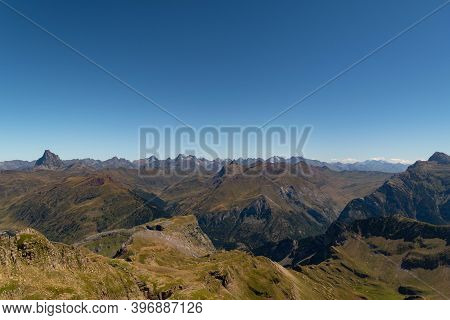 Views Of The Peaks And Mountains Of The Pyrenees From The Summit Of Aspe Overlooking The Midi D'ossa