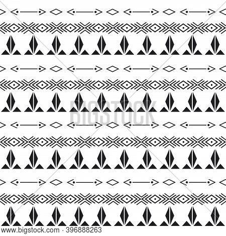 Seamless Pattern With Motif Aztec Tribal Geometric Shapes