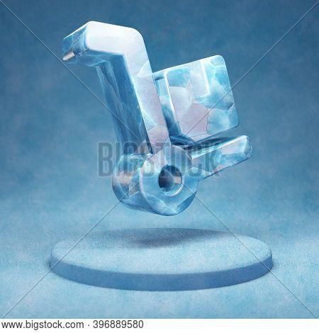 Dolly Icon. Cracked Blue Ice Dolly Symbol On Blue Snow Podium. Social Media Icon For Website, Presen