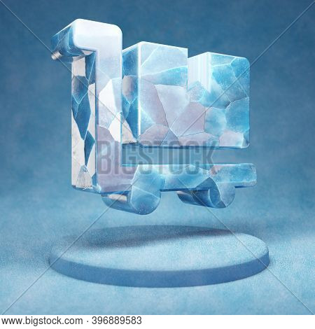 Dolly Flatbed Icon. Cracked Blue Ice Dolly Flatbed Symbol On Blue Snow Podium. Social Media Icon For