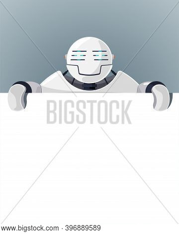 Cartoon Robot Stand Behind Blank Poster Space For Text. White Cyborg Character Holding Empty White B
