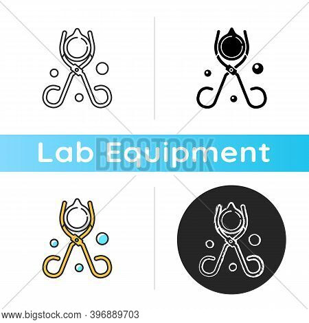 Beaker Tongs Icon. Handling Hot And Cold Beakers. Lab Equipment. Scissor-like Tool. Carrying Evapora
