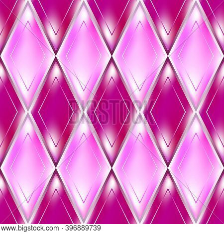 Pink And Purple Rhombus Abstract Seamless Pattern With A Glassy Effect.