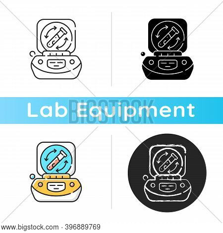Lab Centrifuge Icon. Spinning Vessel Containing Material At High Speed. Fluids, Liquid Separation. L