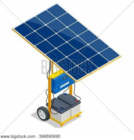 Isometric Solar Panel And Green Energy Battery. Renewable Energy Sources. Backup Power Energy Storag