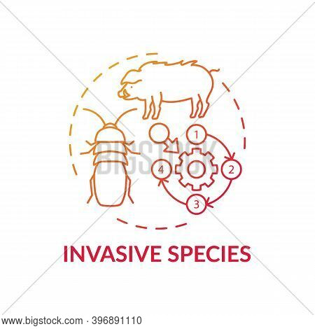 Invasive Species Red Gradient Concept Icon. Ecosystem Preservation. Insects, Animal Population. Wild