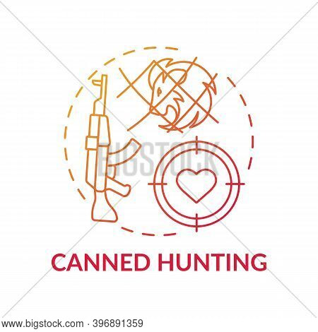 Canned Hunting Red Gradient Concept Icon. Aim With Rifle. Endangered Nature. Animal Abuse And Wildli