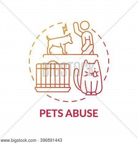 Pets Abuse Red Gradient Concept Icon. Harm To Cat From Owner. Violence To Dog. Aggression And Punish