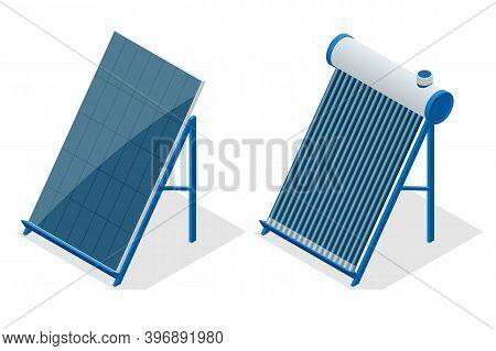 Isometric Home Solar Energy Equipment Isometric Icon. Renewable Energy Sources. Backup Power Energy