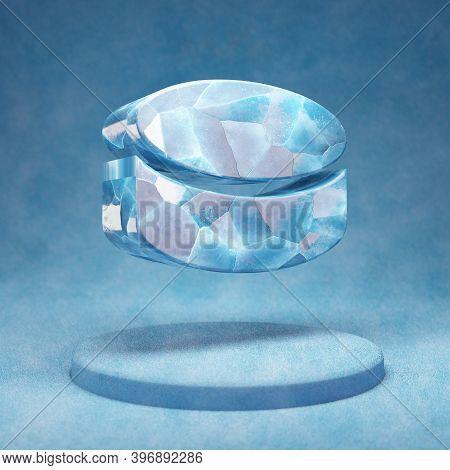 Hockey Puck Icon. Cracked Blue Ice Hockey Puck Symbol On Blue Snow Podium. Social Media Icon For Web