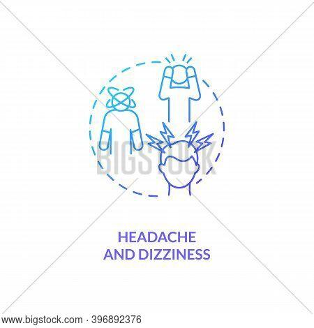 Headache And Dizziness Concept Icon. Cfs Symptom Idea Thin Line Illustration. Extreme Fatigue. Diffi