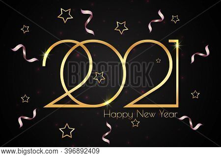 Happy New Year 2021. Festive Background Design With Text And Gold Stars, Serpentine And Lens Flares.