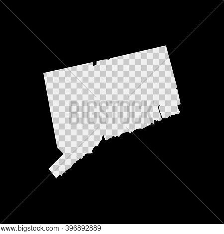 Connecticut Us State Stencil Map. Laser Cutting Template On Transparent Background. Die Cut Vector S
