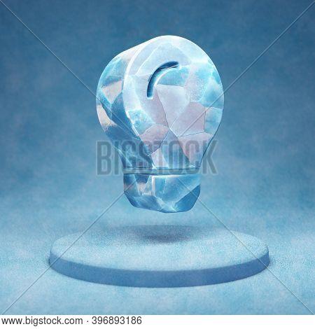 Lightbulb Icon. Cracked Blue Ice Lightbulb Symbol On Blue Snow Podium. Social Media Icon For Website