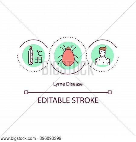 Lyme Disease Concept Icon. Infectious Disease Caused By Bacterium. Expanding Red Rash. Health Proble