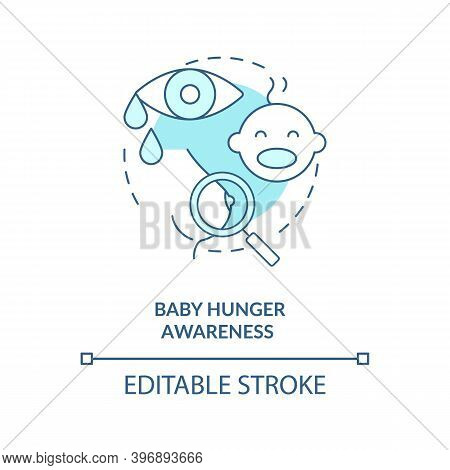 Baby Hunger Awareness Concept Icon. Breastfeeding Tips. Children Crying For Eating Time. Newborns Wa