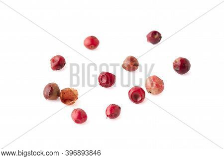 Pink Peppercorns Seeds Isolated On White Background
