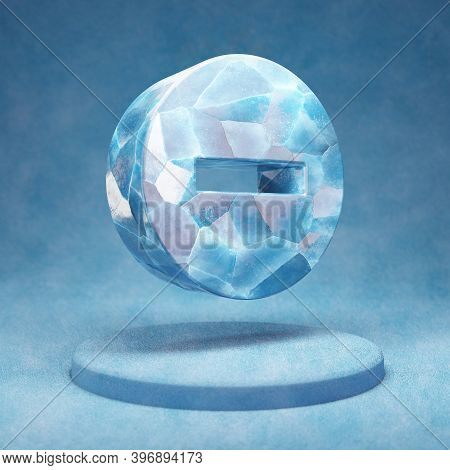 Minus Circle Icon. Cracked Blue Ice Minus Circle Symbol On Blue Snow Podium. Social Media Icon For W