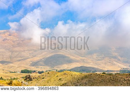 Viewpoint In The Lebanese Mountains. The Kadisha Valley Panoramic View. Beautiful Lebanese Landscape