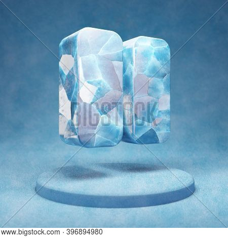 Pause Icon. Cracked Blue Ice Pause Symbol On Blue Snow Podium. Social Media Icon For Website, Presen