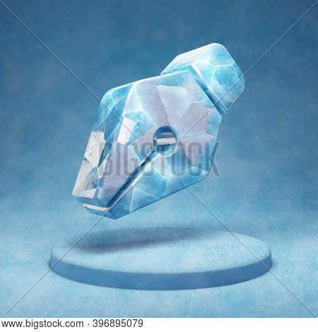 Pen Nib Icon. Cracked Blue Ice Pen Nib Symbol On Blue Snow Podium. Social Media Icon For Website, Pr