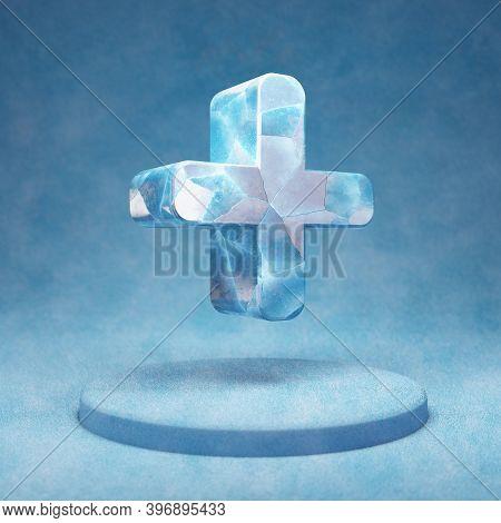 Plus Icon. Cracked Blue Ice Plus Symbol On Blue Snow Podium. Social Media Icon For Website, Presenta