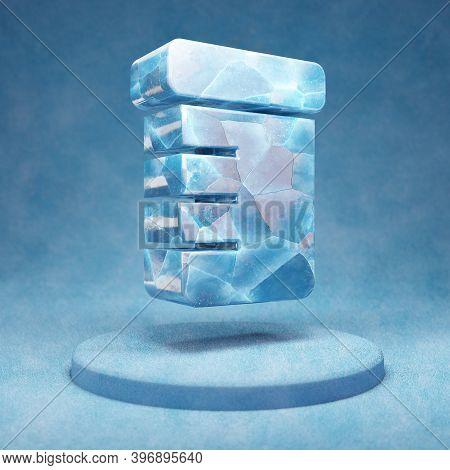 Prescription Bottle Icon. Cracked Blue Ice Prescription Bottle Symbol On Blue Snow Podium. Social Me
