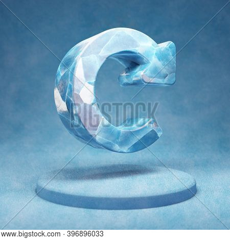 Redo Icon. Cracked Blue Ice Recycle Symbol On Blue Snow Podium. Social Media Icon For Website, Prese