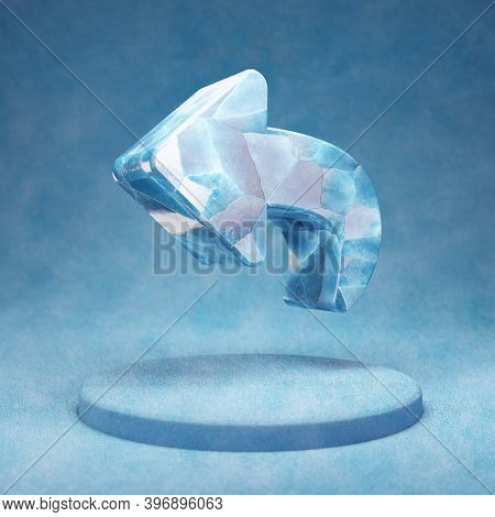 Reply Icon. Cracked Blue Ice Reply Symbol On Blue Snow Podium. Social Media Icon For Website, Presen