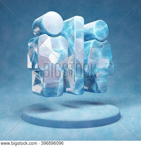 Restroom Icon. Cracked Blue Ice Restroom Symbol On Blue Snow Podium. Social Media Icon For Website,