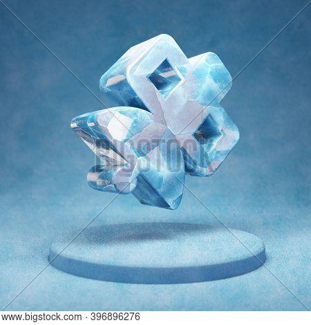 Satelite Icon. Cracked Blue Ice Satelite Symbol On Blue Snow Podium. Social Media Icon For Website,