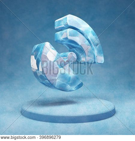 Satelite Dish Icon. Cracked Blue Ice Satelite Dish Symbol On Blue Snow Podium. Social Media Icon For