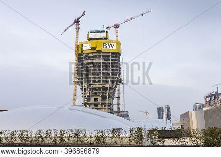 Belgrade, Serbia -  November 23, 2020: Belgrade Waterfront Residences And Business Buildings Under C