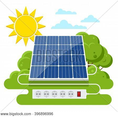 Solar Panel. Renewable Energy Sources. Backup Power Energy Storage System.
