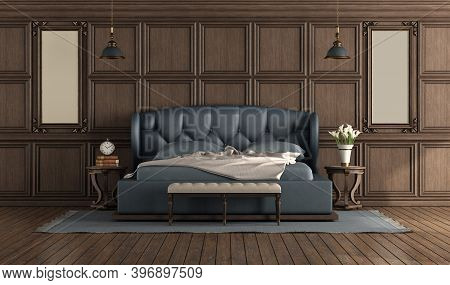 Classic Luxury Empty Room With Blue Double Bed And Wooden Boiserie On The Wall - 3d Rendering