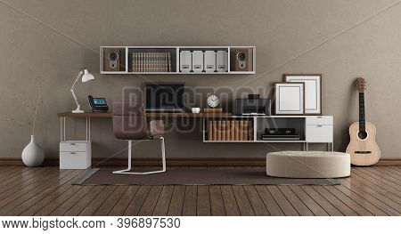 Workplace With Laptop On Desk And Bookcase In Modern Room - 3d Rendering