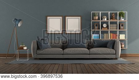 Blue Living Room With Modern Sofa And Bookcase On Background - 3d Rendering